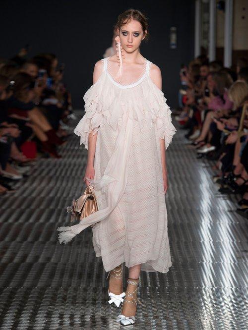 Off-the-shoulder ruffled chiffon midi dress by No. 21
