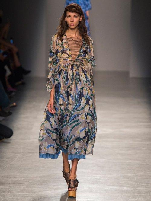 Tulip-print silk-chiffon midi dress by Rochas