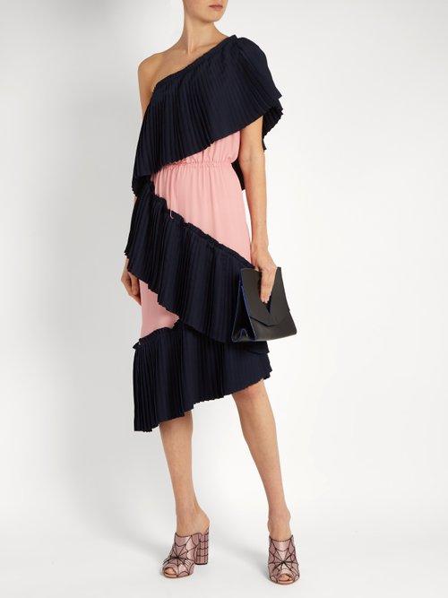 Tiered bi-colour pleated dress by Marco De Vincenzo