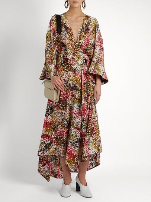 Mist Print Silk Crepe Wrap Dress by Marni