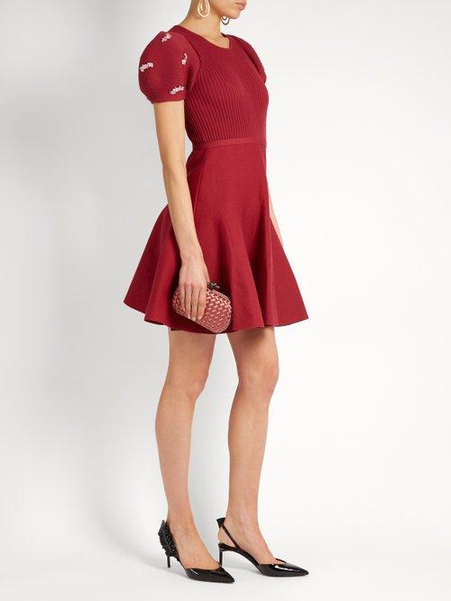 Embellished ribbed-knit cotton dress by Giambattista Valli