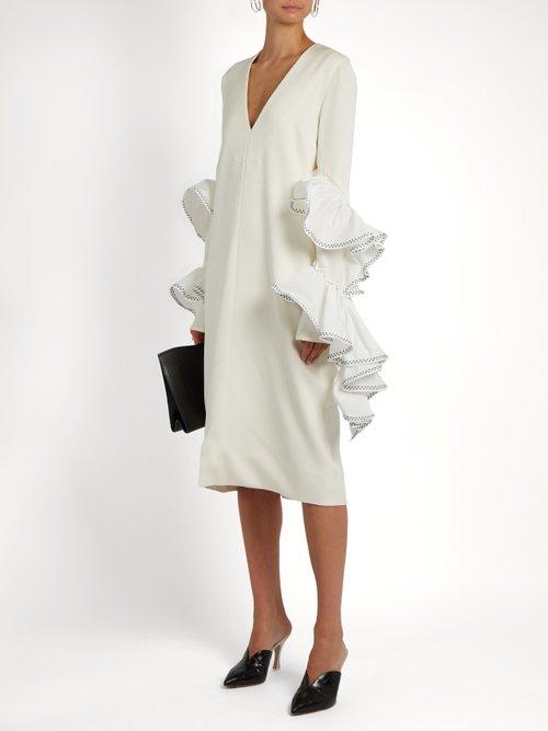 Molotov ruffled-sleeve crepe dress by Ellery