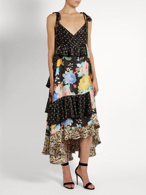 Carmen floral and star-print satin dress by Attico