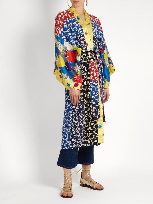 Nina Contrast Panel Silk And Crepe Kimono Dress by Duro Olowu