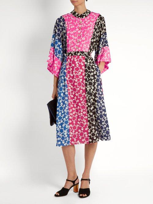 Nina contrast-panel kimono-sleeved crepe dress by Duro Olowu