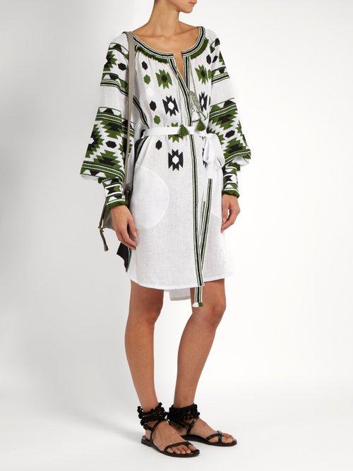 Kilim embroidered linen dress by Vita Kin