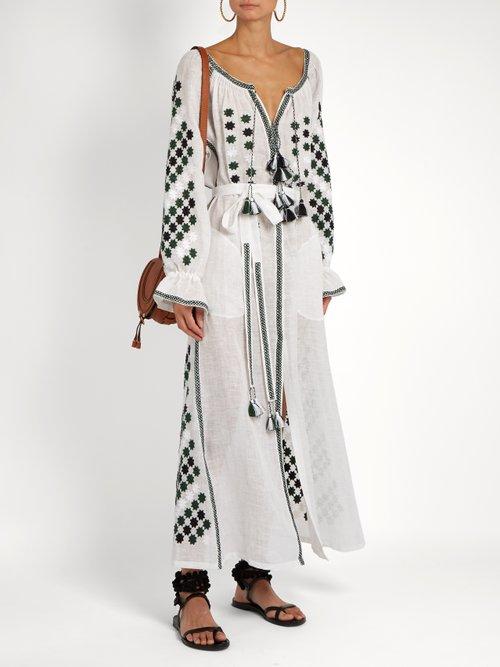 All Stars embroidered linen dress by Vita Kin