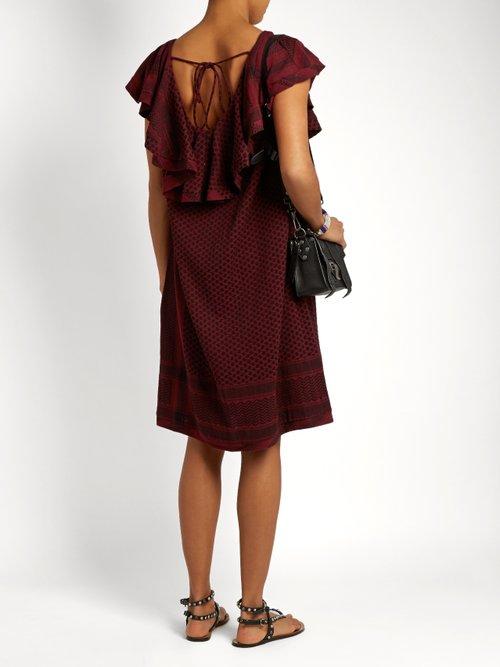 V-back scarf-jacquard cotton dress by Cecilie Copenhagen