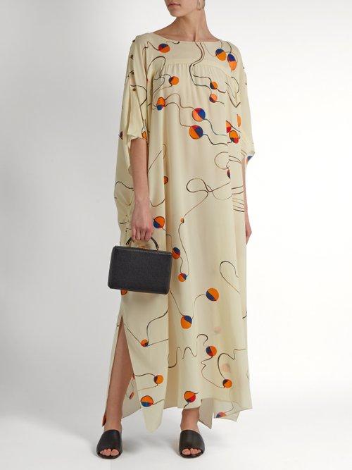 Abstract Print Silk Smock Dress by Mafalda Von Hessen