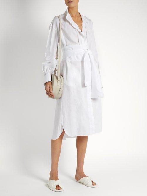 Tie-waist pleated-edge linen dress by Teija
