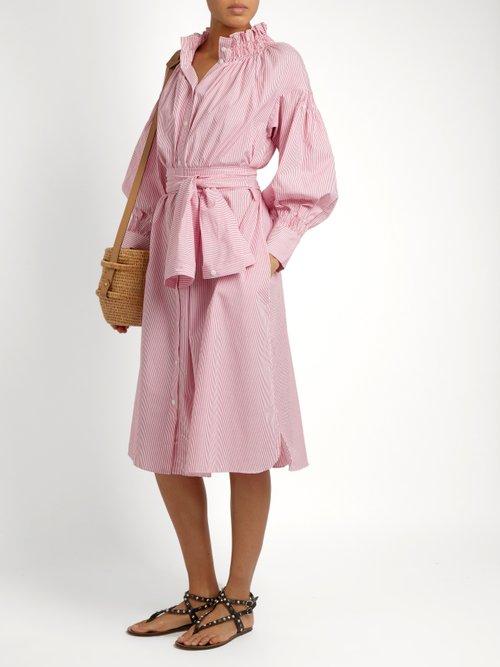 Striped cotton-poplin dress by Teija