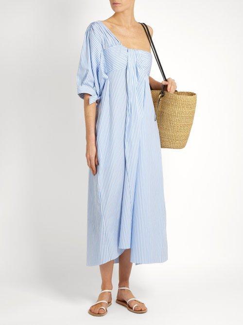 One-shoulder striped cotton-poplin midi dress by Teija