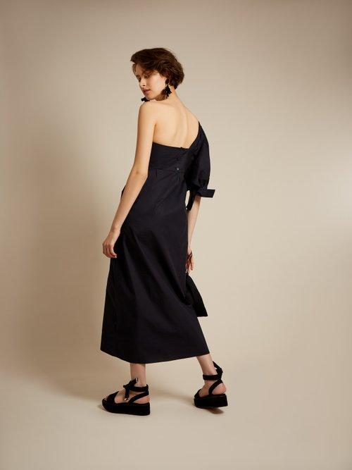 One-shoulder cotton-poplin midi dress by Teija