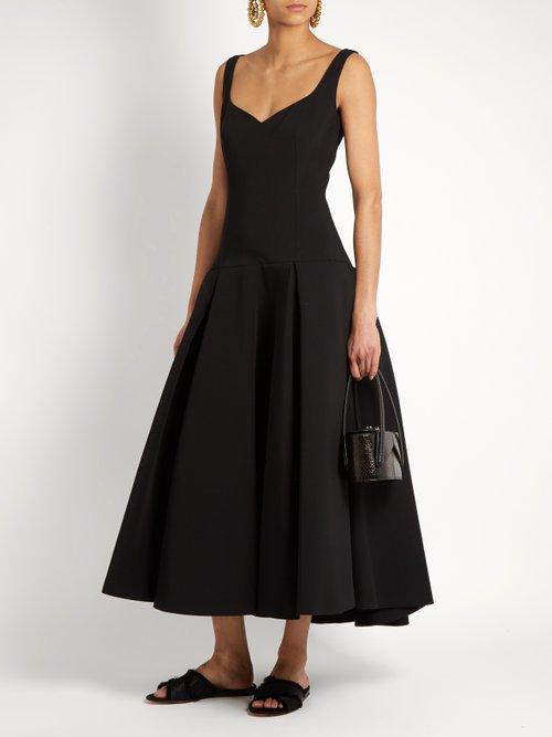 Full-skirt drop-waist midi dress by Sara Battaglia