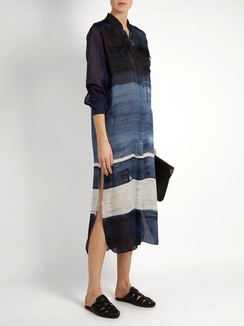 Painterly silk-satin shirtdress by Amanda Wakeley
