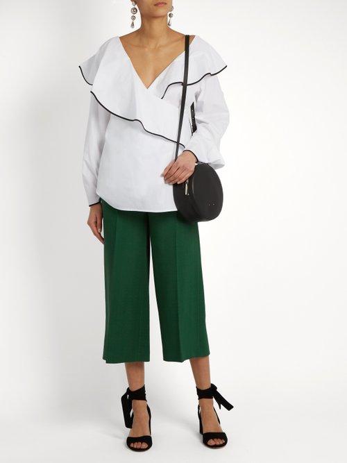 Fluted-lapel wrap cotton blouse by Diane Von Furstenberg