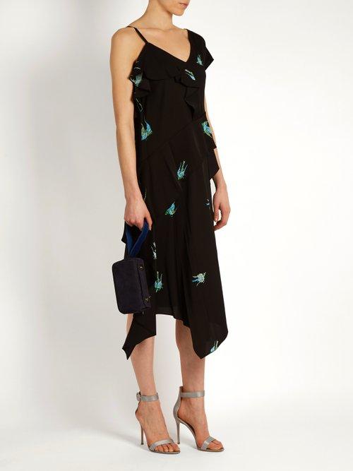 Shop Diane Von Furstenberg Swallow-print stretch-silk dress online sale