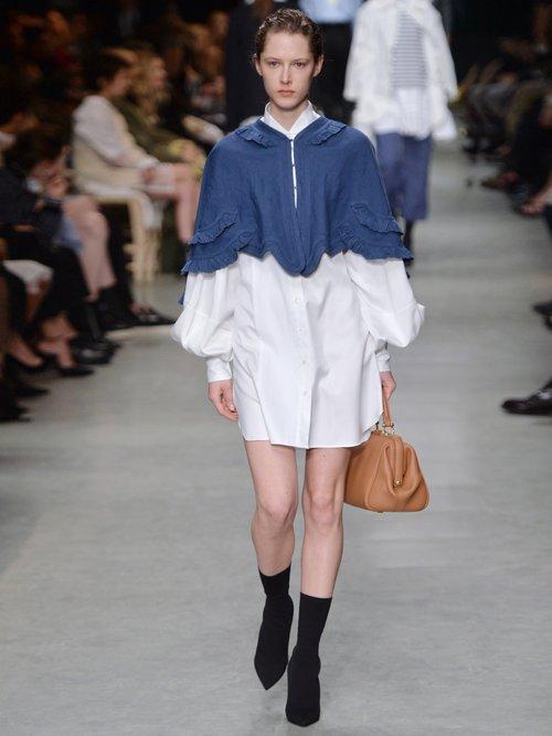Exaggerated-sleeve herringbone-cotton shirtdress by Burberry