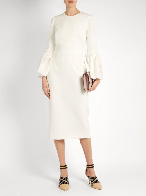 Margot bell-sleeved cady dress by Roksanda