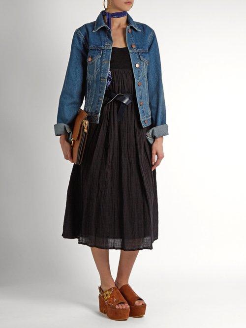 Crochet-panelled cotton-gauze dress by Masscob