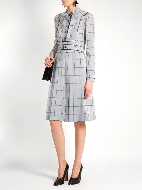 Windowpane-check silk crepe de Chine midi dress by Valentino