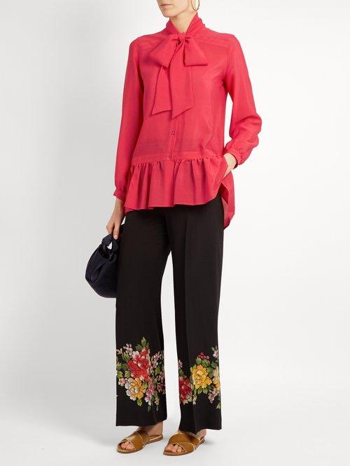 Frida tie-neck silk blouse by Etro