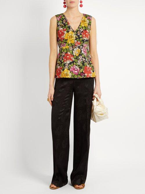 Carmen peony-print stretch-cotton sleeveless top by Etro
