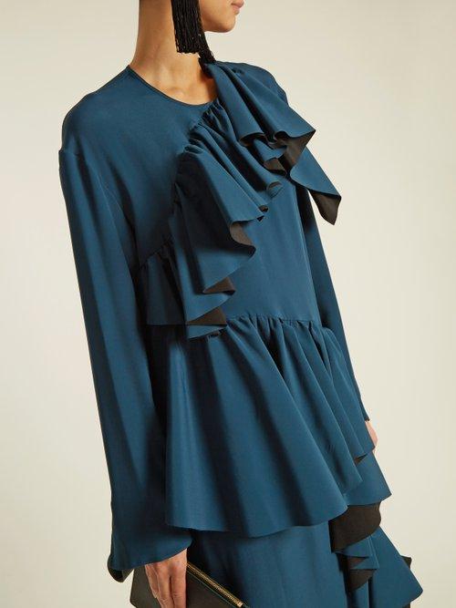 Gathered-ruffle long-sleeved crepe dress by Marni