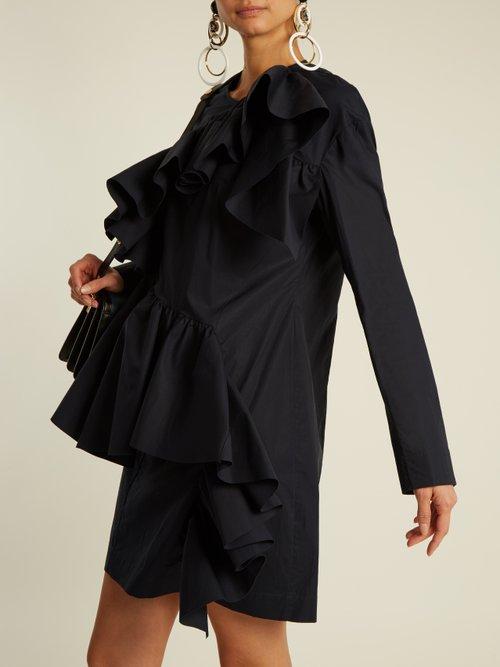 Gathered-ruffle long-sleeved cotton mini dress by Marni