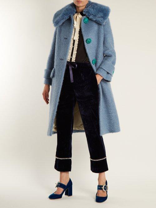 Embellished velvet block-heel pumps by Miu Miu