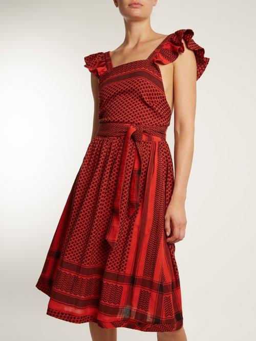 Open-back scarf-jacquard cotton dress by Cecilie Copenhagen