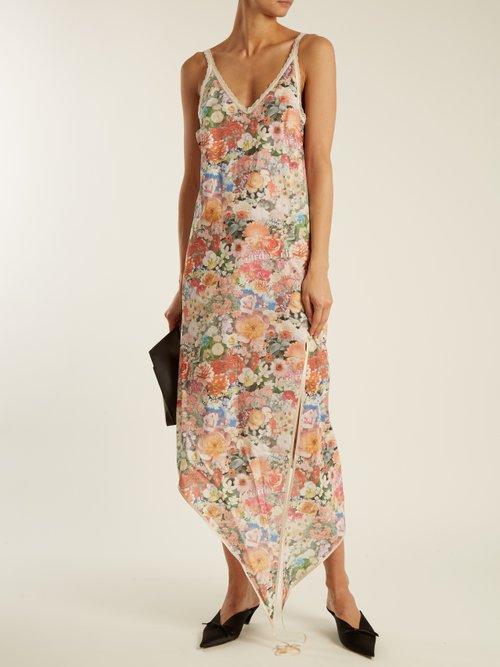 Asymmetric floral-print cotton slip dress by Mm6 Maison Margiela