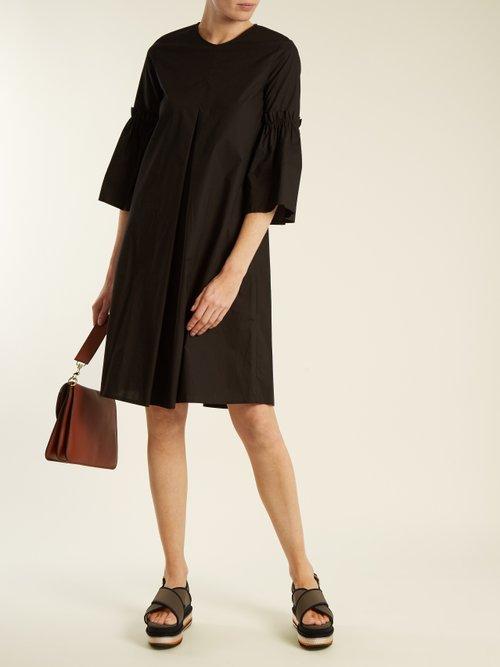 Flared-sleeve cotton-poplin dress by Mm6 By Maison Margiela