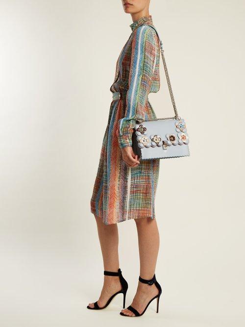 Kan I flower-embellished leather shoulder bag by Fendi