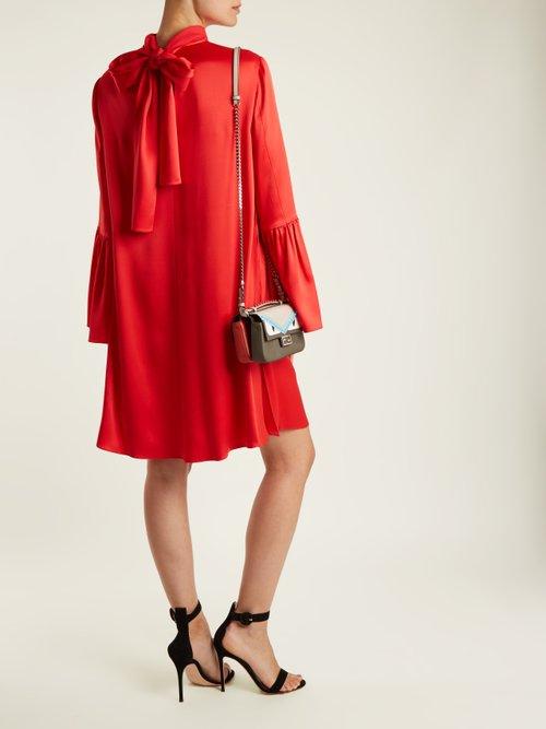 Tie Neck Crepe Back Satin Dress by Fendi