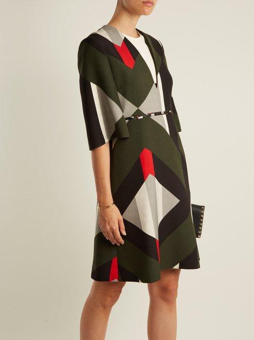 Lozenges Print Fluted Sleeved Wool Blend Dress by Fendi
