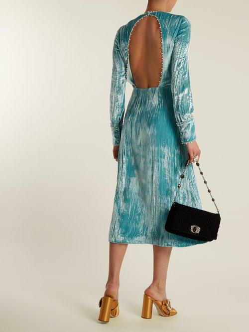 Long-sleeved crystal-embellished velvet dress by Miu Miu