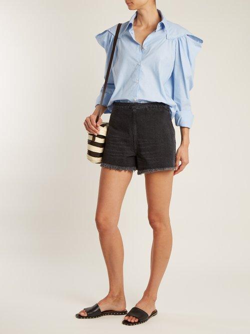 Crescent gathered-shoulder cotton shirt by Rachel Comey