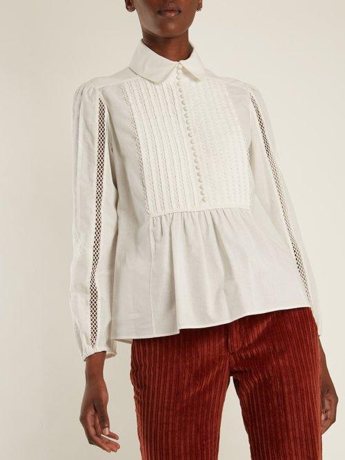 Lace-insert pleated-bib cotton shirt by