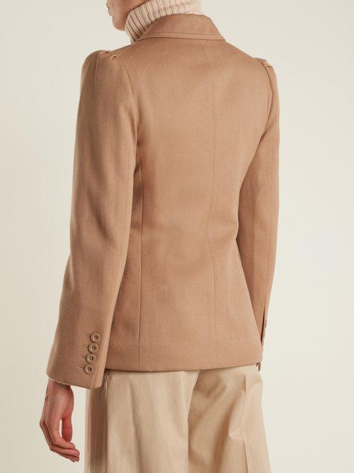 Peak-lapel single-breasted wool-blend jacket by