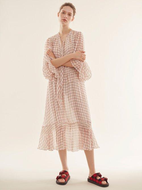 Grid-print silk-georgette midi dress by