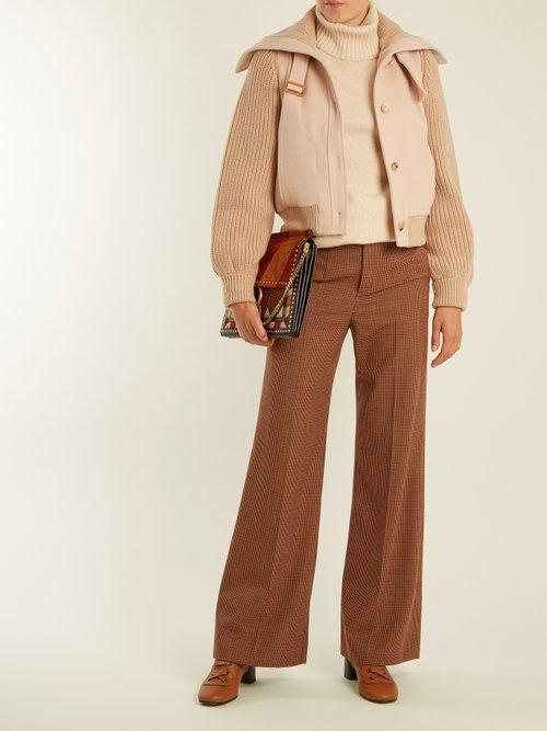 Contrast Knit Sleeve Wool Twill Jacket by