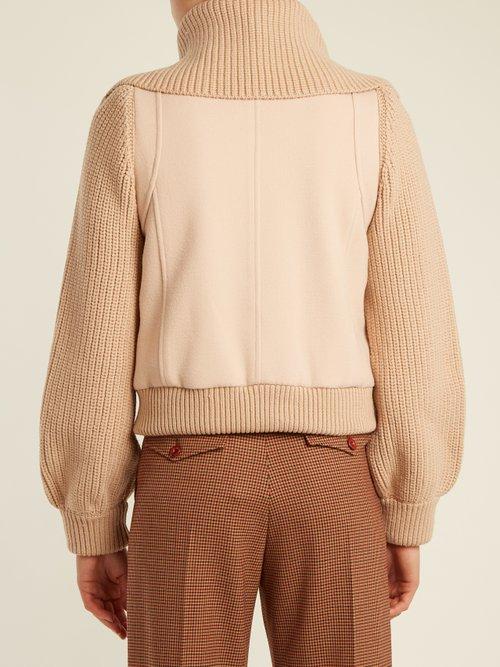 Contrast knit-sleeve wool-twill jacket by