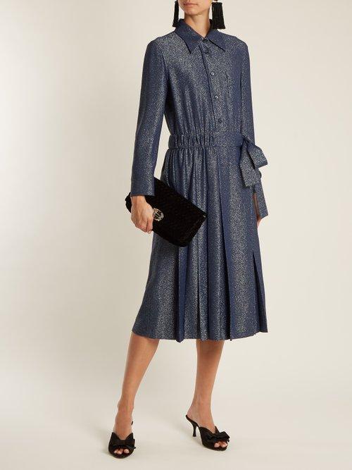 Sable tie-waist Lurex dress by Prada