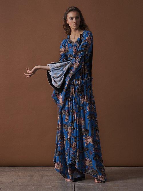 X Paula's Ibiza waterlily-print crepe maxi dress by Loewe