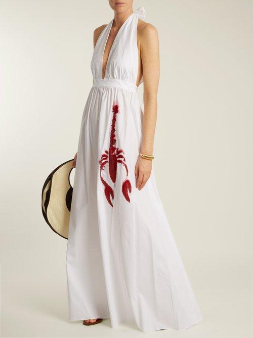 Lobster Print Halterneck Cotton Poplin Maxi Dress by Adriana Degreas