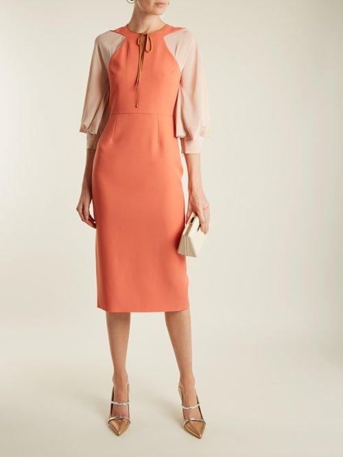 Atlen contrast-panel crepe-cady pencil dress by Roksanda