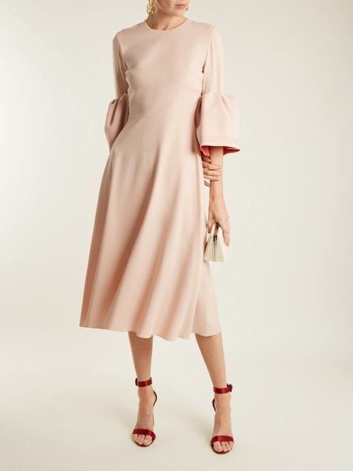 Turlin bell-cuff fluted crepe-cady dress by Roksanda