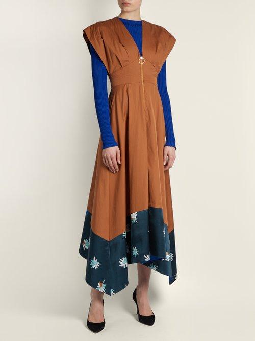 Mituva deep V-neck butterfly-hem poplin dress by Roksanda