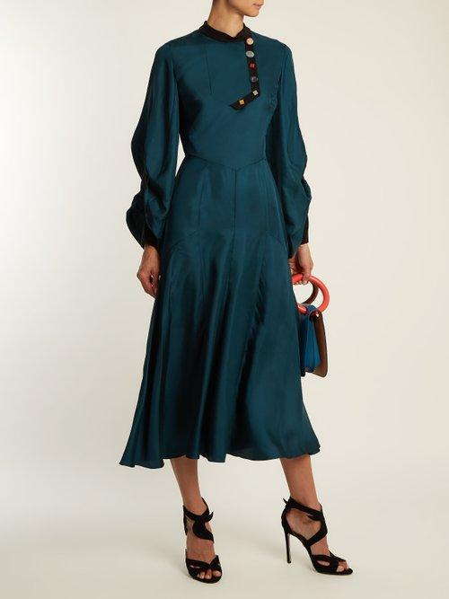 Omari High Neck Ruched Sleeve Silk Twill Dress by Roksanda